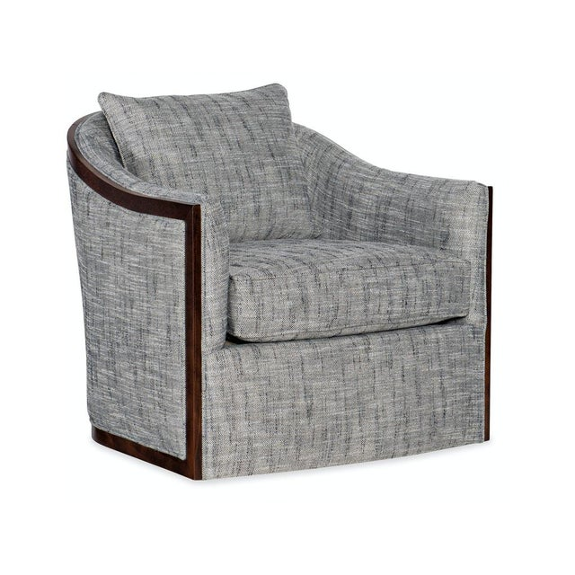 Sam Moore Swivel Chair With Exposed Wood For Sale In San Francisco - Image 6 of 6