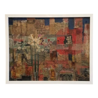 """1960s Painting With Collage, """"New York Has Girls"""" For Sale"""