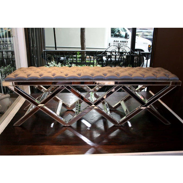Venfield Custom Triple Silver Trim X-Band Mirrored Bench For Sale - Image 4 of 5