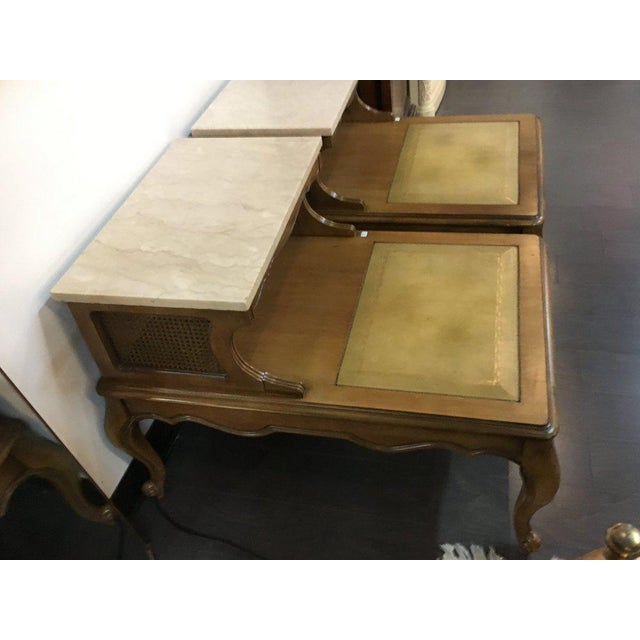 Antique French Style Marble Top Nightstands - A Pair - Image 7 of 10