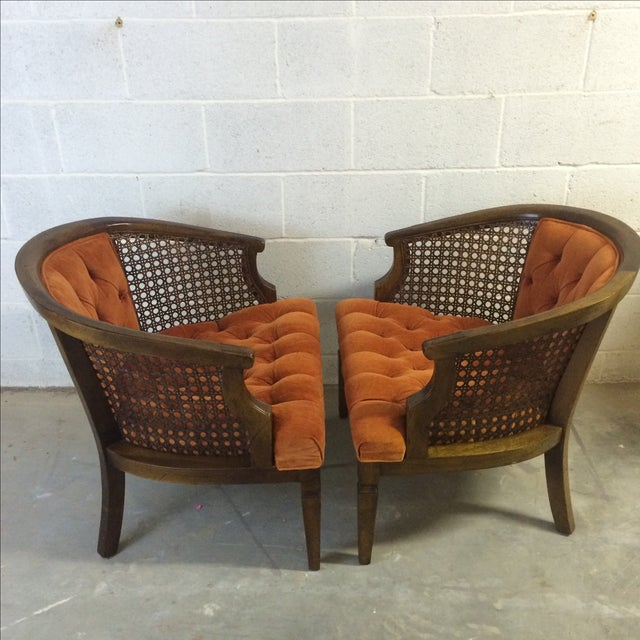 Orange Mid-Century Wood and Cane Barrel Chairs - Pair For Sale - Image 8 of 8