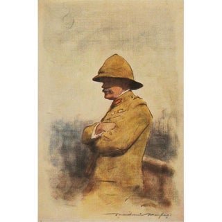 1901 Safari Style Original Portrait of Major General Wavell by M. Menpes For Sale