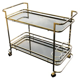 1970s Brass and Smoked Glass Two-Tiered Bar Cart For Sale