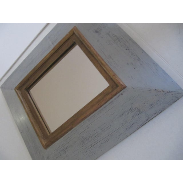 Distressed Grey & Gold Wall Mirror For Sale - Image 4 of 7