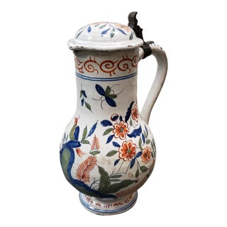 Mid 18th Century French Faience Pottery Bird/Floral Motifs Lidded Pitcher For Sale