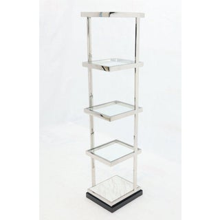 Fine Polished Stainless Steel Compact Small Tower Shape Étagère Shelf Marble Preview