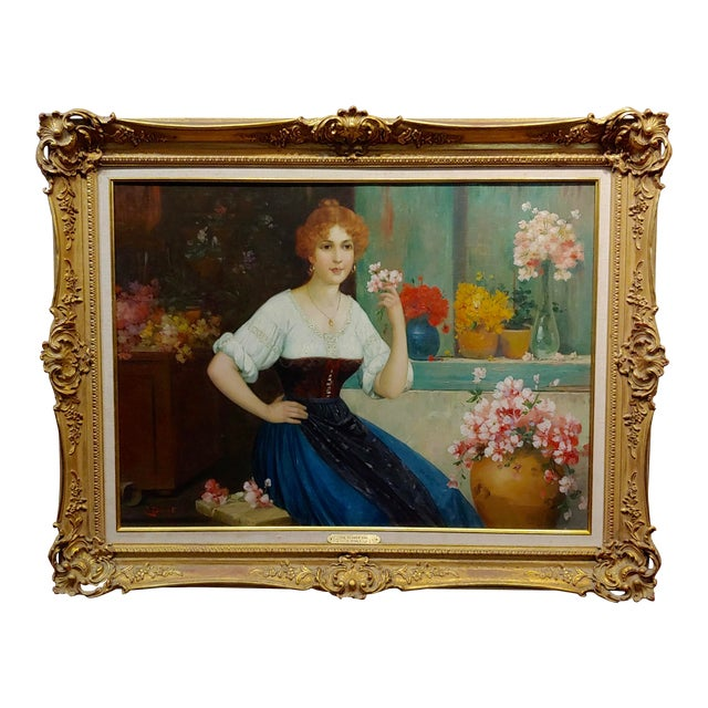 """Luis Doret """"The Beautiful Flower Girl"""" Oil Painting, 19th Century For Sale"""