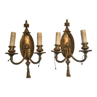 Splendid Bronze French Empire Wall Sconces - a Pair For Sale