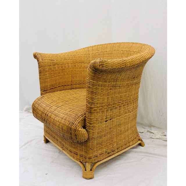 Vintage Palm Beach Chic Woven Wicker Arm Chair For Sale - Image 13 of 13