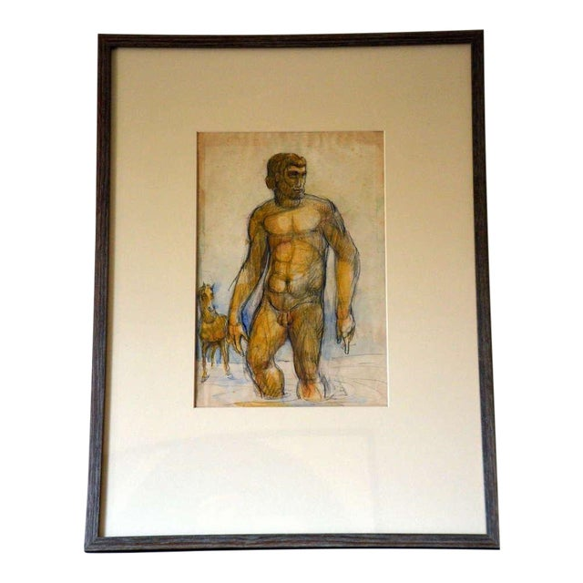 French 1940's Gouache on Paper For Sale