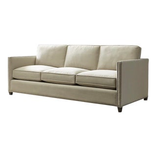 Mid-Century Modern Crate & Barrel Sand Dryden Sofa With Nailhead Details