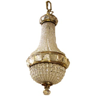 1900s Empire Crystal and Bronze Chandelier