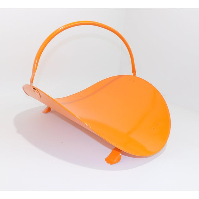 Mid-Century Modern Orange Metal Fireplace Fire Wood Holder For Sale - Image 3 of 9