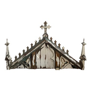 19th Century Gothic Revival Church Facade Architectural Salvage Mantel Pediment For Sale