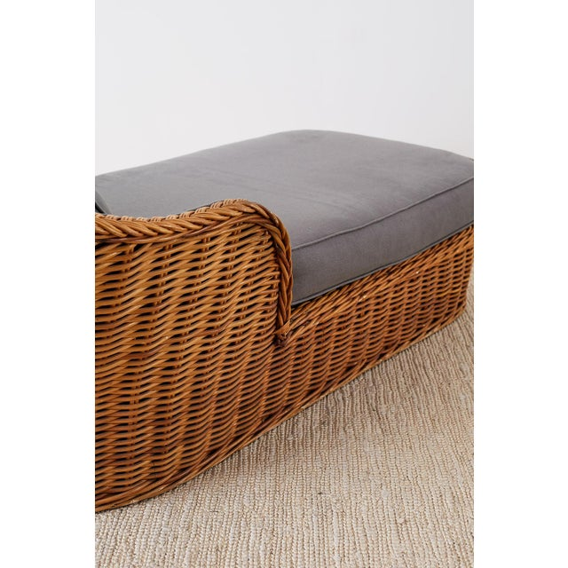 Michael Taylor Style Wicker Chaise Lounge For Sale - Image 11 of 13