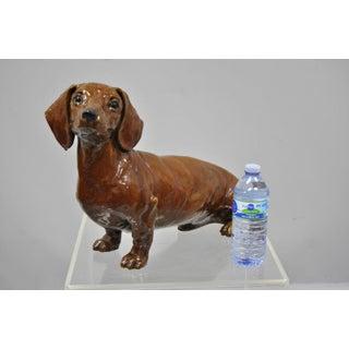 20th Century Figurative Brown Glazed Terracotta Dachshund Dog Statue Preview