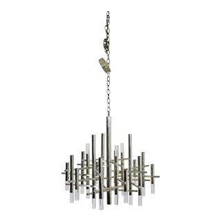 1970s Mid Century Modern Chrome Lucite Sciolari Light Fixture Chandelier, Italy For Sale