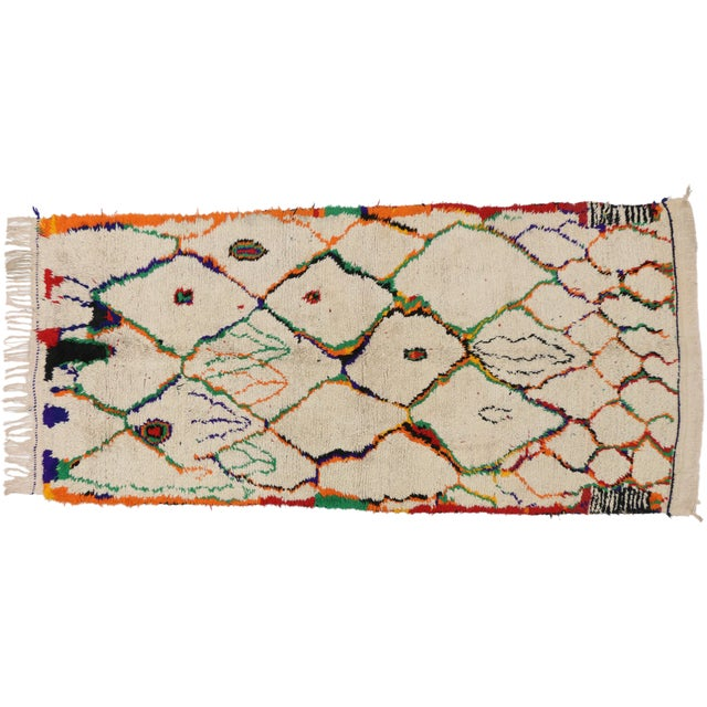 Moroccan Azilal Runner With Postmodern Memphis Style, Shag Hallway Runner - 4'4 X 9'5 For Sale In Dallas - Image 6 of 6