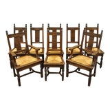 Image of Early 20th Century William & Mary Renaissance Jacobean Revival Oak Dining Chairs- Set of 8 For Sale
