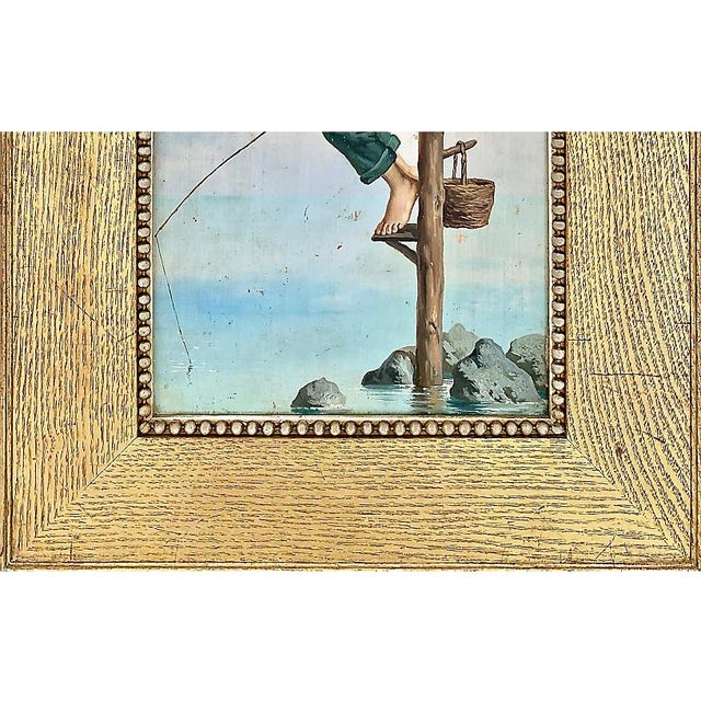 Figurative Young Man Fishing, Naples, 1880s For Sale - Image 3 of 8