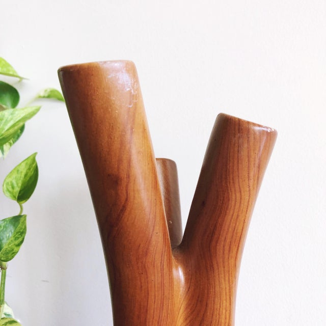 Vintage Organic Modern Ceramic Painted Wood Grain Branches Vase For Sale - Image 4 of 6