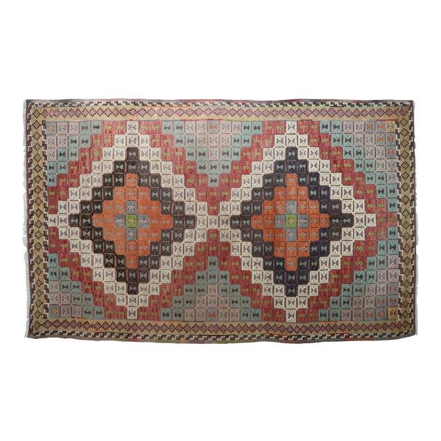 Vintage Turkish Kilim Rug-6′ × 12′8″ For Sale