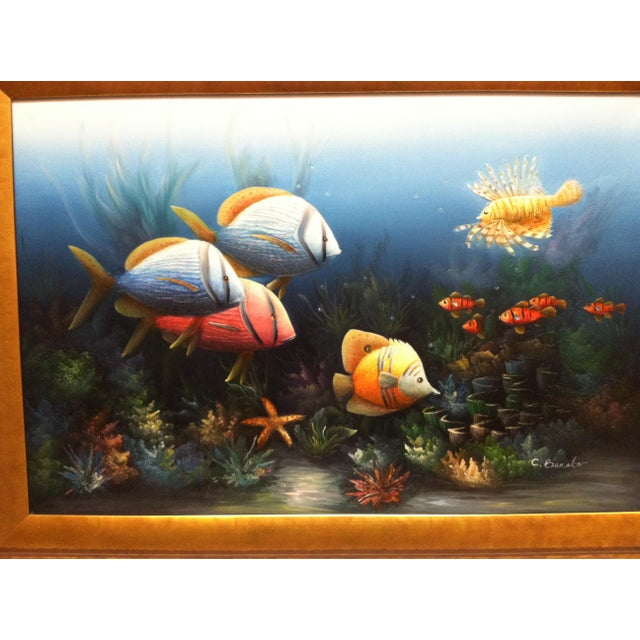 """Traditional Late 20th Century C. Benolt """"Tropical Fish"""" Framed Original Painting For Sale - Image 3 of 7"""