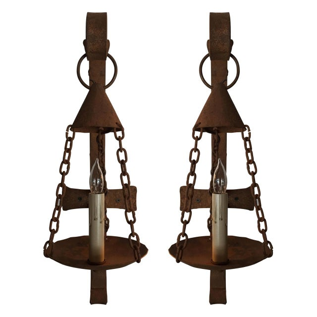 Vintage Iron Electrified Sconce For Sale In Atlanta - Image 6 of 6
