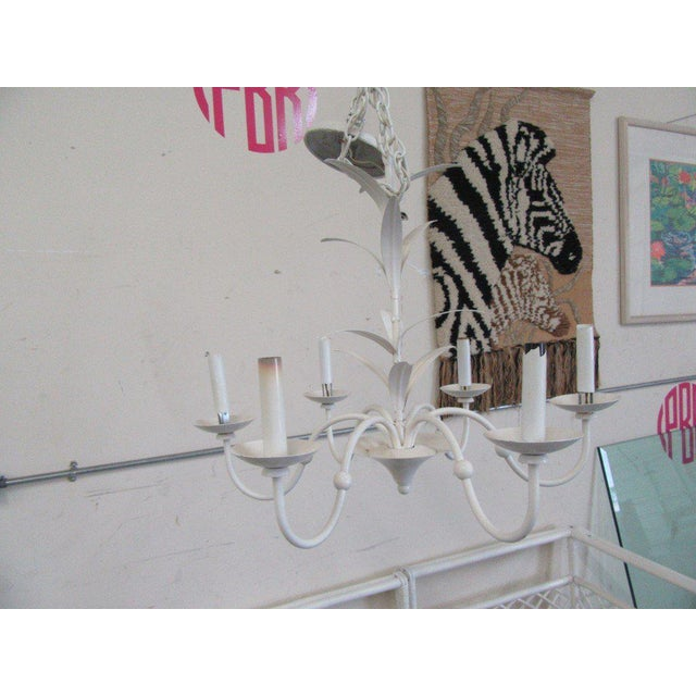 Late 20th Century Petite White Tole Chandelier For Sale - Image 5 of 6