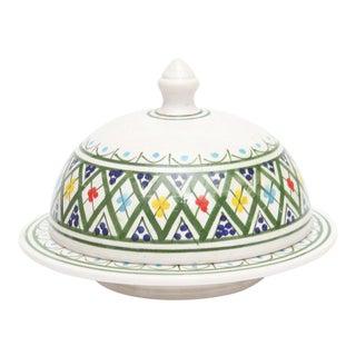 Hand Painted Moroccan Ceramic Serving Tajine For Sale