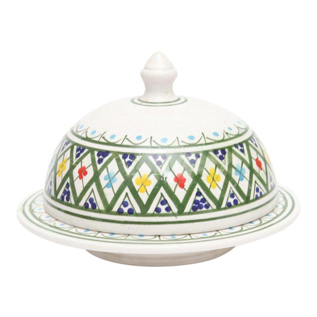 Hand Painted Moroccan Ceramic Serving Tajine - Image 1 of 3