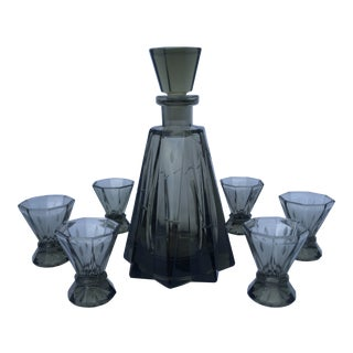 Vintage Mid-century Czech Smoky Etched Glass Decanter Set - Set of 7 For Sale