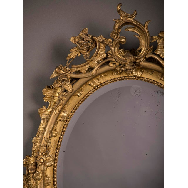 19th Century Gilded Oval Frame French Mirror For Sale - Image 4 of 6