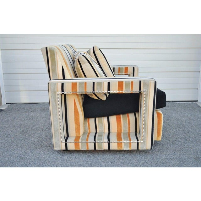 Large Hollywood Regency Modern Striped Upholstered Lounge Club Movie Arm Chair For Sale - Image 4 of 11
