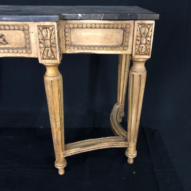 French French Louis XVI Style Console Table With Marble Top For Sale - Image 3 of 13