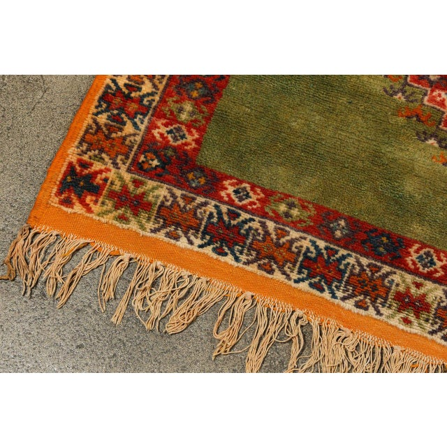 Mid 20th Century Vintage Moroccan Tribal Green and Orange Rug For Sale - Image 5 of 9
