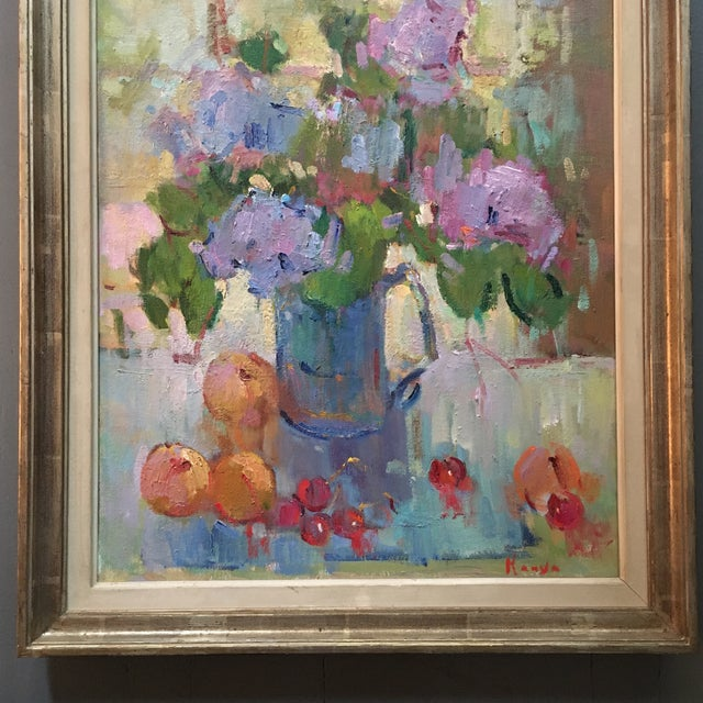 "Orange ""Lilacs in a Blue Jug"" Painting by Kanya Bugreyev For Sale - Image 8 of 11"