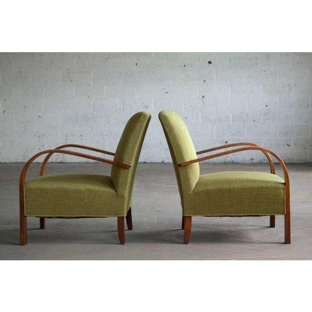 Early Midcentury Danish Art Deco Low Lounge Chairs- A Pair For Sale - Image 9 of 12