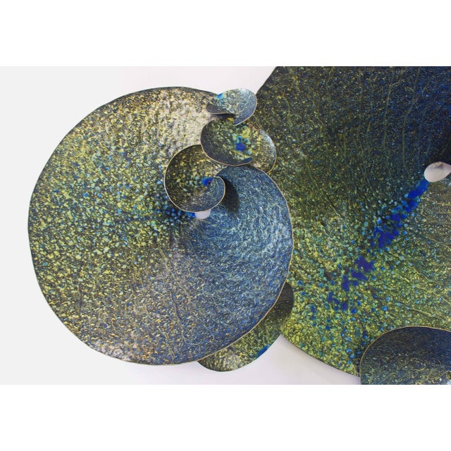 Early 21st Century Blue and Gold Lotus Iron Wall Sculpture by Fabio Ltd For Sale - Image 5 of 7
