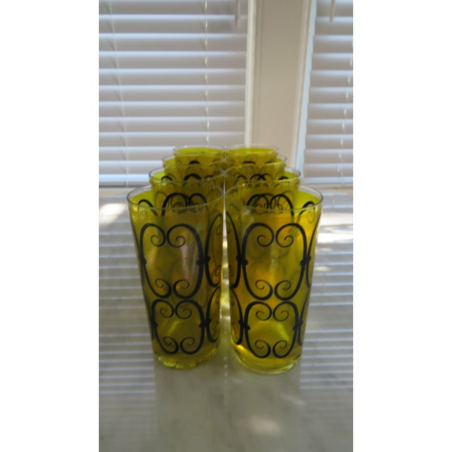 Fred Press Chartreuse Mid-Century Tumblers W/ Metal Carrier - Image 5 of 6