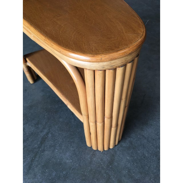 Axo Restored Rattan Wedge Drinks Table With Two-Tier Mahogany Tops For Sale - Image 4 of 7