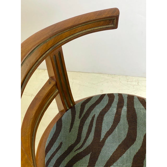 Brass Neoclassical Vanity Chair of Walnut and Brass For Sale - Image 8 of 13
