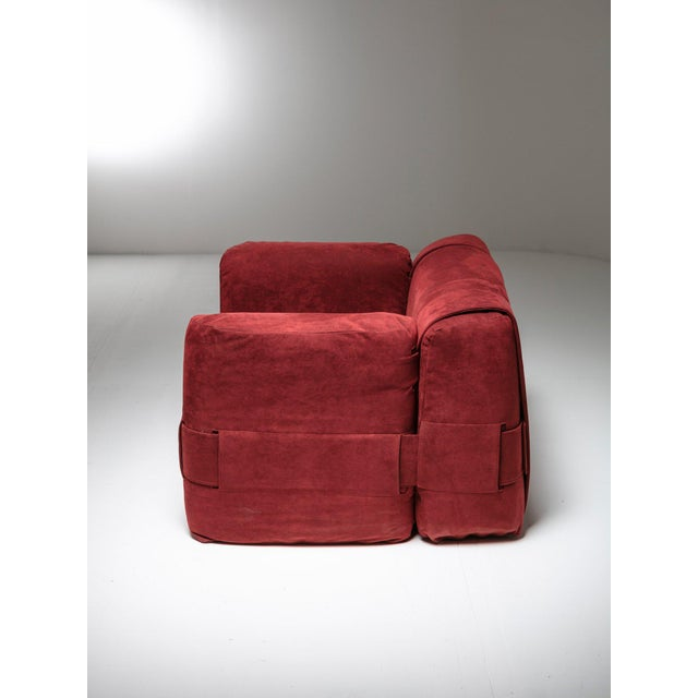 "Amazing ""932"" armchair by Mario Bellini for Cassina. The four pillows are kept together by three belts. Beautiful newly..."