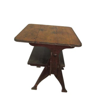 Rustic Antique Pegged Tilt Top Table Bench For Sale