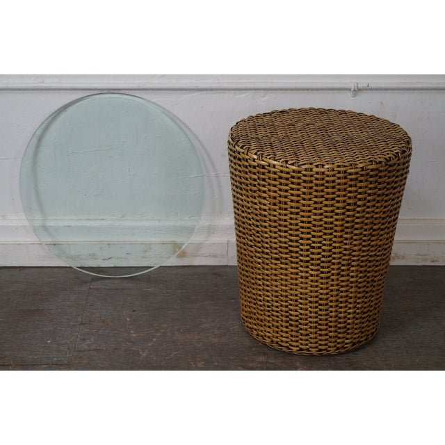 Woven Wicker Wrapped Cylinder End Tables - A Pair For Sale In Philadelphia - Image 6 of 10