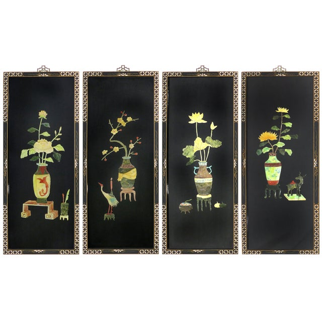 Vintage Black Lacquer & Semi-Precious Stone Asian Panels - Set of 4 - Image 1 of 10