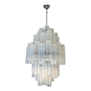 """Italian Double Sputnik Opalino Murano Glass """"Tronchi"""" Chandelier For Sale"""