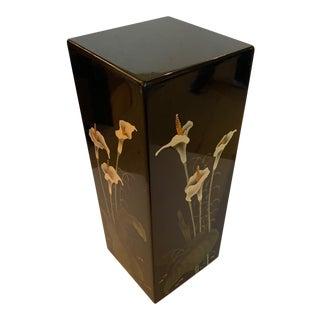 Black Lacquer Square Pedestal With Calla Lillies For Sale