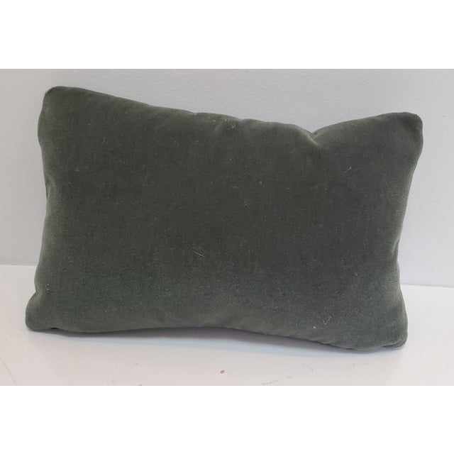 """This 10""""x16"""" lumbar pillow features a beautiful George Smith mohair in sage green, antique brass exposed zipper detail,..."""