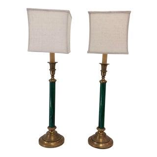 Chapman Brass & Faux Malachite Candlestick Lamps - a Pair